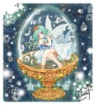 1girl angel angel_wings armlet artist_name blue_eyes blue_hair commentary_request cup dress earth feathers in_container in_cup long_hair murasaki_daidai_etsuo object_hug original plant sleeveless sleeveless_dress star_(symbol) starry_background thighlet tiara twitter_username vines white_dress wings