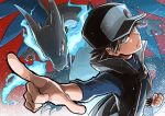 1boy badge baseball_cap black_coat black_hair blue_eyes blue_fire charizard clenched_hand closed_mouth coat commentary_request dragon fire frown gen_1_pokemon glowing glowing_eyes hat highres looking_to_the_side mega_charizard_x mega_pokemon official_alternate_costume pointing pokemon pokemon_(creature) pokemon_(game) pokemon_masters popped_collar red_(pokemon) seijun spiky_hair turtleneck