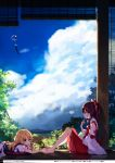 2girls absurdres aqua_eyes bare_legs bare_shoulders barefoot blonde_hair blue_eyes blue_sky bored bow brown_hair clouds day detached_sleeves dress eating feet food hair_bow hair_tubes hakurei_reimu hands_on_feet head_rest highres holding holding_spoon japanese_clothes ke-ta kirisame_marisa long_hair long_sleeves lying miko multiple_girls non-web_source on_stomach open_mouth outdoors puffy_short_sleeves puffy_sleeves ribbon ribbon-trimmed_sleeves ribbon_trim scenery shaved_ice short_sleeves sitting skirt skirt_set sky spoon touhou translation_request wide_sleeves wind_chime