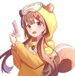 1girl animal_ears blush brown_eyes brown_hair commentary commission ears_through_headwear goggles goggles_on_headwear gun hair_ornament hairclip hands_up holding holding_gun holding_weapon hood hood_up hoodie kimi_(jxrm5387) long_hair looking_at_viewer low_twintails multicolored_hair open_mouth original simple_background solo squirrel_ears squirrel_girl squirrel_tail streaked_hair tail twintails two-handed upper_body very_long_hair weapon white_background white_hair x_hair_ornament yellow_hoodie