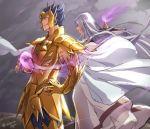 2boys armor cancer_manigoldo golden_armor hands_on_hips helmet long_hair male pope_sage robe saint_seiya saint_seiya:_the_lost_canvas spiked_hair vulpese