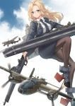 1girl aircraft airplane b-25_mitchell black_jacket black_legwear black_neckwear black_skirt blonde_hair blue_eyes blush bomber breasts closed_mouth eyebrows_visible_through_hair flight_deck gun highres hornet_(kantai_collection) jacket k_jie kantai_collection large_breasts long_hair long_sleeves looking_at_viewer machinery military military_vehicle necktie pantyhose pencil_skirt rigging shirt skirt smile solo symbol_commentary weapon white_shirt zipper zipper_pull_tab