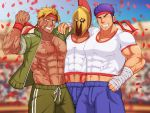 3boys abs alternate_costume bandages bara beowulf_(fate/grand_order) blonde_hair bulge fergus_mac_roich_(fate/grand_order) flexing headband helmet hug leonidas_(fate/grand_order) male_focus midriff multiple_boys muscle muscle_cavalier_(fate/grand_order) navel pectoral_docking pose purple_hair red_eyes scar thick_thighs thighs vert_cypres