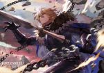 1boy armor blonde_hair blue_eyes broken broken_chain cape chain copyright_name dimitri_alexandre_blaiddyd eyepatch fire_emblem fire_emblem:_three_houses fur_trim gloves holding holding_spear holding_weapon long_sleeves peach_luo polearm short_hair simple_background solo spear weapon