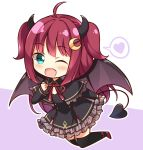 1girl ;d ahoge black_capelet black_dress black_legwear black_ribbon blush brown_wings capelet chibi commentary_request crescent crescent_hair_ornament demon_girl demon_horns demon_tail demon_wings dress fang frilled_capelet frilled_dress frills full_body green_eyes hair_ornament hand_up heart horns kamakani_(kanikama8192) long_hair long_sleeves looking_at_viewer neck_ribbon nijisanji one_eye_closed open_mouth purple_background red_footwear redhead ribbon shoes sleeves_past_wrists smile solo spoken_heart tail thigh-highs two-tone_background two_side_up very_long_hair white_background wings yuzuki_roa