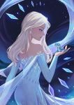1girl absurdres animal artist_name bare_shoulders black_background blonde_hair blue_dress blue_eyes bruni_(frozen) dark_background dress earrings elsa_(frozen) english_commentary feet_out_of_frame frozen_(disney) hair_down hair_over_shoulder highres jewelry lipstick long_hair looking_to_the_side makeup mascara parted_lips profile salamander shiro-hane skirt smile snowflake_earrings snowflake_print snowflakes solo twitter_username