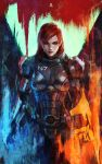 1girl absurdres arm_blade commander_shepard_(female) commentary energy_sword english_commentary eyeshadow freckles green_eyes highres lips makeup mass_effect mass_effect_3 medium_hair monori_rogue n7_armor nose omnitool panties redhead solo sword underwear weapon