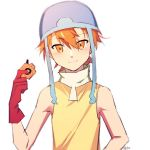 1boy blue_helmet blush closed_mouth commentary digimon digimon_adventure digivice genderswap genderswap_(ftm) gloves hair_between_eyes holding looking_at_viewer male_focus maro_(lij512) orange_eyes orange_hair red_gloves shirt signature simple_background sleeveless sleeveless_shirt smile solo symbol_commentary takenouchi_sora turtleneck upper_body white_background yellow_shirt