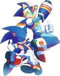 2boys animal_nose arm_cannon back-to-back commentary crossover drawloverlala english_commentary full_body fusion gloves helmet highres male_focus multiple_boys red_footwear rockman rockman_x shoes signature sneakers sonic sonic_the_hedgehog spikes thumbs_up transparent_background visor weapon white_gloves x_(rockman)