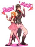 ! 1boy 1girl belt belt_buckle black_hair boots buckle character_name commentary_request eyebrows_visible_through_hair fingerless_gloves full_body gloves green_eyes heart knee_boots lie_ren long_hair looking_at_viewer nora_valkyrie open_mouth orange_hair pants pink_eyes pink_hair pointing rwby short_hair simple_background skirt sora_(efr) standing white_background