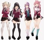 4girls absurdres bangs black_hair blonde_hair blunt_bangs blunt_ends bow bowtie breasts choker commentary_request crossed_arms drill_hair eyebrows_visible_through_hair full_body highres kayahara kneehighs large_breasts long_hair long_sleeves looking_at_viewer miniskirt multiple_girls open_mouth original pink_hair purple_hair red_eyes school_uniform shoes simple_background skirt standing teeth thigh-highs tongue twin_drills white_background