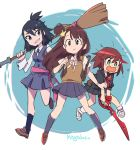 3girls black_hair black_skirt blue_skirt brown_hair company_connection cosplay costume_switch crossover embarrassed hair_ornament kagari_atsuko kagari_atsuko_(cosplay) kill_la_kill little_witch_academia looking_to_the_side luluco luluco_(cosplay) mago matoi_ryuuko matoi_ryuuko_(cosplay) multiple_crossover multiple_girls open_mouth school_uniform scissor_blade senketsu side_ponytail skirt star_(symbol) star_hair_ornament uchuu_patrol_luluco