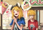 1boy 1girl :d alternate_costume animal_ears arm_at_side bangs bespectacled between_breasts black-framed_eyewear blonde_hair blue_eyes blue_jacket breasts brother_and_sister cake cake_slice casual character_print closed_eyes collarbone commentary_request fake_animal_ears food fruit glasses hair_ornament hairclip hand_up hands_clasped hands_up hatsune_miku heart highres index_finger_raised inuyabu_cc jacket kagamine_len kagamine_rin looking_at_viewer open_mouth own_hands_together puffy_short_sleeves puffy_sleeves rabbit_ears red_shirt ribbon shirt short_hair short_sleeves siblings smile sparkle strawberry sweatdrop swept_bangs t-shirt twins upper_body vocaloid white_shirt