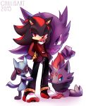 1boy alternate_costume animal_ears artist_name black_hair black_pants blue_eyes bracelet chewing_gum closed_mouth commentary crossover dated english_commentary floating full_body furry gen_1_pokemon gen_4_pokemon gen_5_pokemon ghost half-closed_eyes hands_in_pockets happy haunter jewelry long_sleeves looking_at_viewer male_focus multicolored_footwear multicolored_hair pants poke_ball_theme pokemon pokemon_(creature) red_eyes red_shirt red_vest redhead riolu shadow_the_hedgehog sharp_teeth shirt shoes simple_background sitting smile sonic_the_hedgehog spacecolonie spiked_bracelet spikes standing teeth two-tone_hair vest violet_eyes watermark white_background zorua