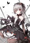 1girl bangs bare_shoulders black_butterfly black_dress black_gloves bronya_zaychik chain crossed_bangs dress drill_hair elbow_gloves fishnet_gloves fishnet_legwear fishnets frilled_dress frills gloves gothic_lolita grey_hair hair_ribbon highres homu_(honkai_impact) honkai_(series) honkai_impact_3rd layered_dress lolita_fashion long_hair looking_at_viewer multicolored_hair orange_hair poinia red_eyes ribbon sitting streaked_hair twin_drills veil wariza