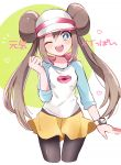 1girl bangs black_legwear blue_eyes blush bow brown_hair commentary_request double_bun heart legwear_under_shorts long_hair looking_at_viewer mei_(pokemon) nig_18 one_eye_closed open_mouth pantyhose pink_bow pokemon pokemon_(game) pokemon_bw2 raglan_sleeves shirt short_shorts shorts smile solo teeth translation_request twintails upper_teeth very_long_hair visor_cap yellow_shorts