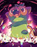 :d debris destruction gen_8_pokemon gigantamax_(other) grookey highres no_humans open_mouth outstretched_arms pokemon pokemon_(creature) smile solo spread_arms tasaka_shinnosuke