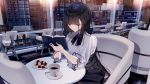 1girl atha_(leejuiping) black_hair book breasts cafe chair commentary_request cookie cup eyelashes food highres hime_cut long_hair open_book original reading saucer sitting skirt table very_long_hair violet_eyes