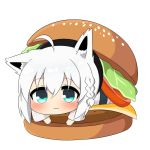 1girl ahoge animal_ears bangs braid cheese eyebrows_visible_through_hair food fox_ears fox_girl green_eyes hair_between_eyes hamburger hololive lecture looking_at_viewer lying on_stomach shirakami_fubuki sidelocks simple_background single_braid sitting_on_food solo tomato twumi virtual_youtuber white_background white_hair