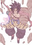 1boy arm_hair black_footwear black_hair black_pants blurry blurry_foreground boots circlet clenched_hands clenched_teeth debris depth_of_field dragon_ball dragon_ball_gt flying full_body fur gourd highres looking_at_viewer male_focus monkey_tail pants puffy_pants red_eyes sanpaku solo son_gokuu spiky_hair super_saiyan super_saiyan_4 sword tail tasaka_shinnosuke teeth weapon
