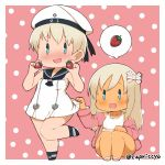 2girls bare_legs blonde_hair blue_eyes blush capriccyo chibi clothes_writing commentary_request dress dress_lift food fruit hair_ornament hair_ribbon hat hat_ribbon kantai_collection leg_up long_hair multiple_girls nose_blush one-piece_tan open_mouth polka_dot polka_dot_background ribbon ro-500_(kantai_collection) sailor_collar sailor_dress sailor_hat short_hair smile standing standing_on_one_leg strawberry swimsuit swimsuit_under_clothes tan tanline white_dress z1_leberecht_maass_(kantai_collection)