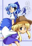 blonde_hair blue_eyes blue_hair bow cirno gobaku_arashi hat moriya_suwako multiple_girls ribbon ribbons short_hair touhou wings