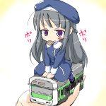 chibi eating hat kojima_tsuma long_hair lowres mouth_hold purple_eyes silver_hair sitting train uniform urara urara_(baby_princess) violet_eyes