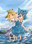 blonde_hair blue_eyes blue_hair bow cirno delivery_(tenshikun) hat moriya_suwako multiple_girls ribbon ribbons short_hair touhou water wind wings yellow_eyes