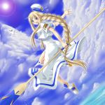 aria aria_pokoteng bird braid cloud dutch_angle flying lens_flare oar president_aria sky sun uniform water yaso_shigeru