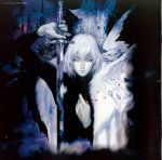 akumajo_dracula artbook ayami_kojima castlevania castlevania:_aria_of_sorrow charcoal_(medium) highres kojima_ayami konami official_art oil_painting_(medium) soma_cruz sword traditional_media weapon whip white_hair