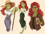 1girl barefoot batman_(series) black_eyes coffee coffee_cup crossed_arms cup disposable_cup drink english_commentary green_skin hat holding holding_drink jodocho looking_to_the_side multiple_views overalls poison_ivy redhead sun_hat tied_hair