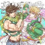 2boys ;p adam's_apple arm_up background_text bare_arms bare_shoulders battle_tendency belt belt_buckle blonde_hair bracelet brown_belt brown_hair buckle caesar_anthonio_zeppeli character_name chinese_commentary closed_mouth commentary_request copyright_name crop_top dated denim english_text facial_mark feather_hair_ornament feathers fingerless_gloves glint gloves green_eyes green_gloves green_jacket hair_between_eyes hair_feathers hand_on_another's_hip hand_up headgear heart highres jacket jeans jewelry jojo_no_kimyou_na_bouken joseph_joestar_(young) light_smile looking_at_viewer male_focus midriff multiple_boys muscle navel one_eye_closed pants pink_scarf sashiyu scarf short_hair signature smile sparkle spiky_hair striped striped_scarf symbol_commentary tongue tongue_out upper_body