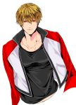 1boy blonde_hair highres jacket mark_of_the_wolves osakana_e red_eyes rock_howard short_hair solo upper_body white_background