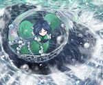1girl blue_eyes blue_hair commentary green_kimono head_fins japanese_clothes kimono layered_clothing layered_kimono leaf_print long_sleeves looking_at_viewer mermaid monster_girl obi outstretched_arms sash short_hair sleeves_past_wrists smile solo spread_arms sunyup touhou wakasagihime water water_drop whirlpool
