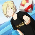 1boy ^_^ animal_print backpack bag blonde_hair blue_sky closed_eyes dutch_angle fence gift grin half_updo leopard_print male_focus motion_blur shirt sky smile t-shirt throwing water yamano_uzura yuri!!!_on_ice yuri_plisetsky