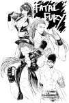 1girl 3boys andy_bogard black_hair breasts copyright_name fatal_fury fatal_fury_cap fingerless_gloves gloves greyscale highres jacket joe_higashi long_hair monochrome multiple_boys osakana_e ponytail shiranui_mai terry_bogard white_background
