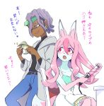 2girls animal_ears belt blue_pants brand_new_animal dark_skin dress earrings fox_ears fox_girl furry green_eyes grey_jacket highres hiwatashi_nazuna hoyon jacket jewelry long_hair looking_at_another marie_itami money multicolored_hair multiple_girls open_mouth pants pink_hair purple_hair red_eyes short_hair simple_background sitting smile standing translation_request two-tone_hair white_background