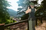 1boy bare_arms bare_shoulders baseball_cap black_shirt brown_hair building camera day facing_away gaou green_headwear green_pants hands_up hat higurashi_no_naku_koro_ni holding holding_camera male_focus mountain outdoors pants railing shirt sleeveless sleeveless_shirt solo standing tomitake_jirou tree watch watch