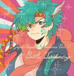1boy alternate_eye_color alternate_hair_color aqua_eyes aqua_hair battle_tendency blue_jacket caesar_anthonio_zeppeli circle closed_mouth commentary_request diffraction_spikes english_text facepaint facial_mark feather_hair_ornament feathers hair_feathers headband jacket jojo_no_kimyou_na_bouken light_smile pink_scarf portrait remu_(kudarizaka_25) scarf shirt smile solo striped striped_background white_shirt