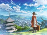 1girl architecture black_legwear blue_sky brown_hair building city clouds cloudy_sky day dress east_asian_architecture from_behind holding light_rays luggage mocha_(cotton) original outdoors pagoda scenery shoes short_hair sky solo sunbeam sunlight