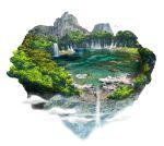 ashiyafuku bird clouds floating_island highres island mountain no_humans original scenery tree water waterfall white_background