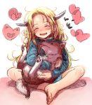 1girl :d animal barefoot blonde_hair blue_sweater blush bosako_(haguhagu) dog facing_viewer full_body haguhagu_(rinjuu_circus) head_tilt heart holding holding_animal holding_dog horns indian_style long_hair open_mouth original shiba_inu sitting smile solo sweater