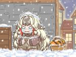 1girl apron arknights basket blonde_hair blush braid brown_apron brown_dress chibi collared_dress crying crying_with_eyes_open dress grey_hair guin_guin house long_hair long_sleeves matchbox multicolored_hair night nose_blush outdoors parted_lips side_braids snow snow_on_head snowing snowsant_(arknights) solo squatting stitches tears trembling twin_braids two-tone_hair very_long_hair wavy_eyes wavy_mouth window