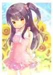 1girl adachi_tenka bangs bare_arms bare_shoulders black_hair blurry blurry_background blush breasts closed_mouth commentary_request commission depth_of_field dress eyebrows_visible_through_hair flower frilled_dress frills hair_between_eyes hair_cubes hair_ornament kouu_hiyoyo long_hair looking_at_viewer one_side_up pink_dress polka_dot polka_dot_dress red_eyes shoujo_ramune sidelocks sleeveless sleeveless_dress small_breasts smile solo sunflower very_long_hair yellow_flower