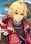 1boy ahoge blonde_hair blue_eyes day eyebrows_visible_through_hair hood hood_down lanyard looking_at_viewer male_focus mzkk_1826 outdoors red_vest ribbed_sweater shulk smile sweater twitter_username vest xenoblade_(series) xenoblade_1