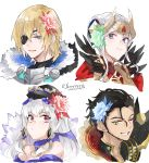 2boys 2girls blonde_hair blue_eyes brown_hair claude_von_riegan closed_mouth dimitri_alexandre_blaiddyd edelgard_von_hresvelg eyepatch fake_horns feyyyyyyk fire_emblem fire_emblem:_three_houses fire_emblem_heroes flower fur_trim green_eyes grin hair_flower hair_ornament hat headpiece highres horns long_hair lysithea_von_ordelia multiple_boys multiple_girls one_eye_closed parted_lips pink_eyes short_hair simple_background smile twitter_username violet_eyes white_background white_hair