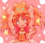 1girl :3 :d big_hair blue_eyes blush bow bowtie copyright_request gloves haguhagu_(rinjuu_circus) hands_up head_tilt highres looking_at_viewer open_mouth orange_hair pink_background red_neckwear smile solo star_(symbol) star_in_eye stuffed_animal stuffed_toy suspenders symbol_in_eye teddy_bear upper_body