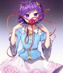 artist_name blouse blue_blouse buttons covering_mouth eyeball floral_print frilled_shirt_collar frills gunjou_row hair_ornament hairband heart heart_hair_ornament komeiji_satori long_skirt long_sleeves nail_polish pink_skirt pointing pointing_at_self purple_hair ribbon-trimmed_collar ribbon_trim rose_print short_hair signature skirt third_eye touhou twitter_username violet_eyes wide_sleeves