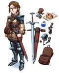 1girl armor armored_boots bag bangs beige_jacket belt belt_buckle boots bottle braid bread bread_crust brown_bag brown_belt brown_hair buckle cameron_sewell clenched_hands closed_mouth coin collar collared_jacket equipment equipment_layout food forehead frown full_body gem gold_coin green_eyes hair_between_eyes highres jacket knee_pads knife leather_bag leather_belt liquid long_hair long_sleeves looking_away looking_to_the_side money original pouch sheath sheathed shoulder_armor silver_coin simple_background solo standing sword thick_eyebrows water weapon white_background
