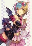 asymmetrical_clothes blonde_hair blue_hair detached_collar dress final_fantasy final_fantasy_crystal_chronicles gauntlets gloves hair_ornament hankuri heterochromia mira_(ffcc) multicolored_hair necktie pink_eyes pink_hair pink_neckwear single_thighhigh smile thigh-highs white_gloves wings yellow_eyes
